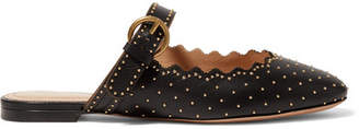Chloé Lauren Studded Scalloped Leather Slippers - Black