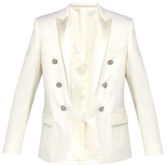 Balmain Double Breasted Wool Twill Tuxedo Jacket - Mens - White