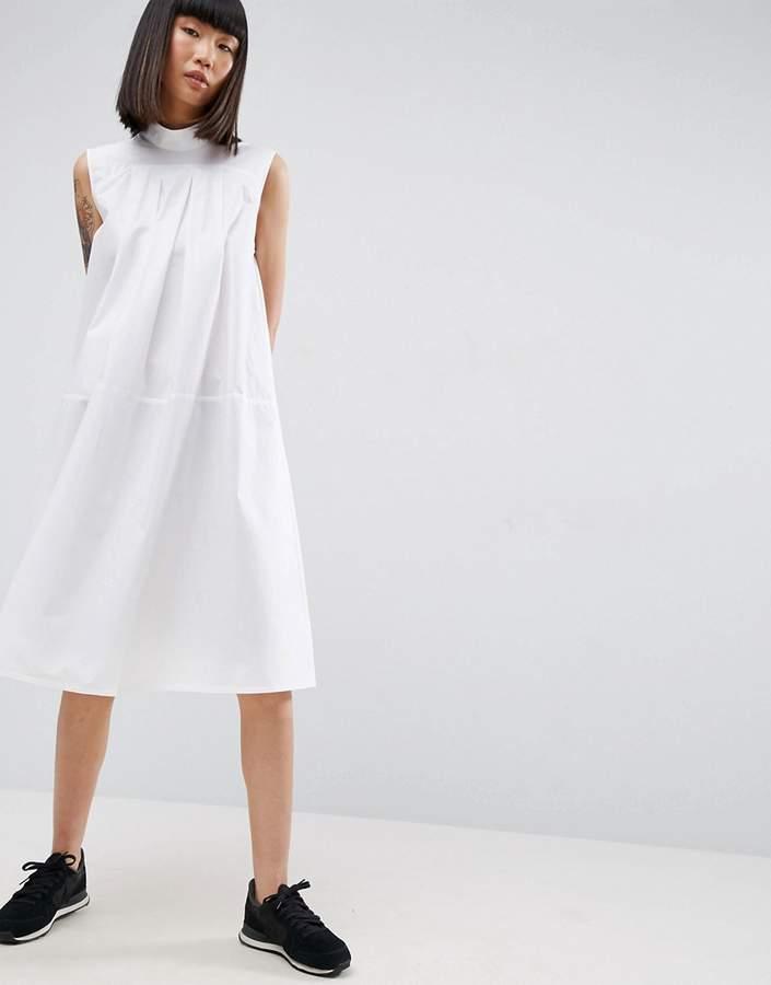 AsosASOS White ASOS WHITE Sleeveless Pleated Panel Shirt Dress