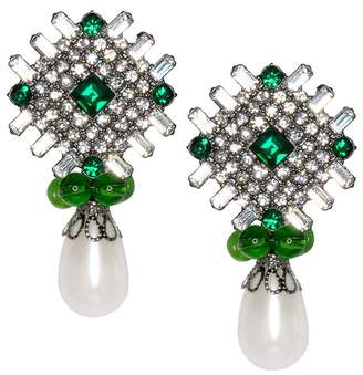 Kenneth Jay Lane Emerald And White Pearl Drop Pierced Or Clip Earrings