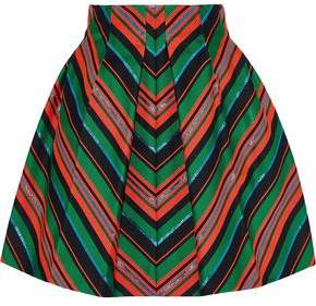 DELPOZO Pleated Striped Neoprene Mini Skirt