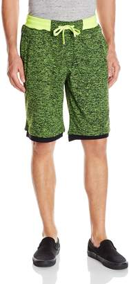Southpole Men's Marled French Terry Shorts with Layered Bottom