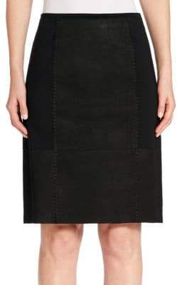 Elie Tahari Leary Leather Paneled Skirt