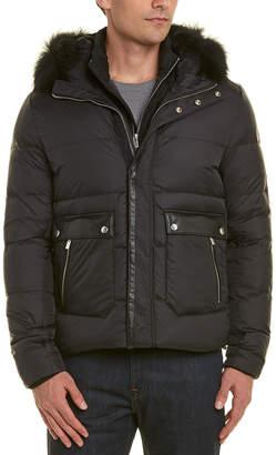The Kooples Leather-Trim Wool-Blend Jacket