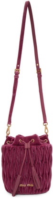 Miu Miu Pink Quilted Velvet Bucket Bag