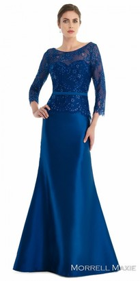 Morrell Maxie Lace Three-Quarter Sleeve Rhinestone Evening Dress $398 thestylecure.com