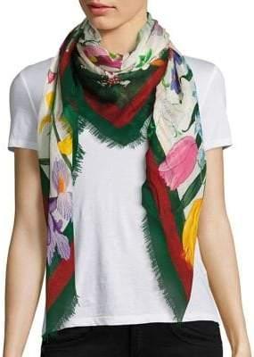 Gucci Floral Web Wool& Silk Scarf