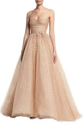 Monique Lhuillier Strapless Glittered-Dot Ruched-Bodice Tulle Ball Gown