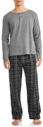 i5 Apparel Men's Henley Top and Polar Fleece Bottom PJ Set