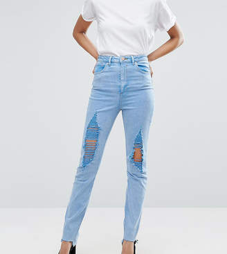 Asos Tall TALL FARLEIGH High Waist Slim Mom Jeans In Fran Light Mottled Wash with Super Busts and Stepped Hem