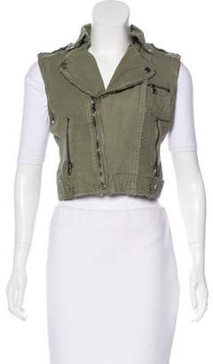 Jakett Leather-Trimmed Cropped Vest