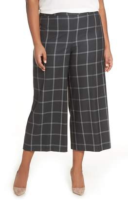 Sejour Windowpane Check Wide Leg Crop Pants