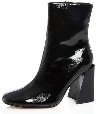 Quiz Black Patent Square Heel Ankle Boots