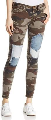 True Religion Halle Mid-Rise Super Skinny Patched Jeans in Cobalt Camo