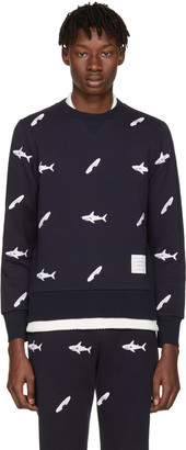 Thom Browne Navy Shark & Surfboard Pullover $1,220 thestylecure.com