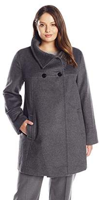 c973eb215fddc Larry Levine Women s Plus-Size Double-Breasted Wool-Blend Coat