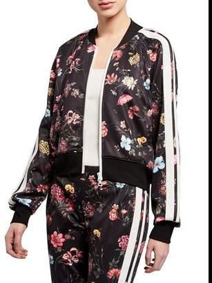 Pam & Gela Fine Line Floral Zip-Front Crop Track Jacket