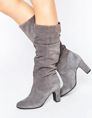 Oasis Suede Gathered Knee Heeled Boot $133 thestylecure.com