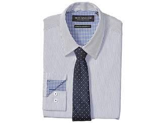 Nick Graham Pencil Strip Stretch Dress Shirt with Micro Neat Tie