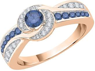 KATARINA Blue and White Diamond Fashion Ring in 10K Rose Gold (1/4 cttw) (Color-, Clarity I3,I4) (Size-3.5)