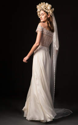 Temperley London Bridal Sofia Gown with Embroidered Bodice and Long Sleeves