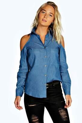 boohoo Regan Cold Shoulder Chambray Pocket Shirt