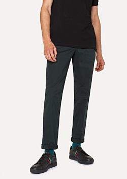 Paul Smith Men's Mid-Fit Dark Green Stretch-Cotton Chinos
