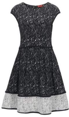 HUGO BOSS Zig-Zag Jacquard Cotton Dress Nikena M Patterned