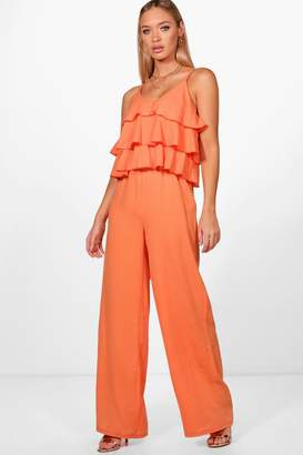 dd6b9bc2e9 Free Returns at boohoo · boohoo Ruffle Strappy Wide Leg Jumpsuit