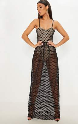 PrettyLittleThing Black Spotty Mesh Sheer Maxi Dress