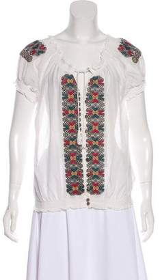Joie Embroidered Short Sleeve Top w/ Tags