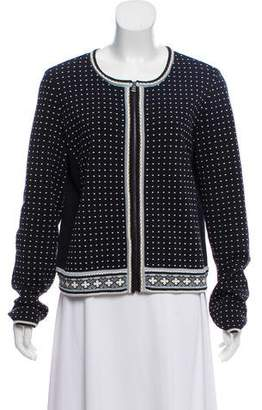 Tory Burch Polka-Dot Zip-Up Cardigan