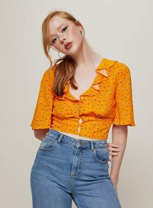 Miss Selfridge Orange ditsy print angel sleeve crop top