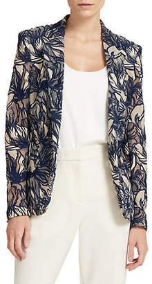 Donna Karan Embroidered One-Button Jacket