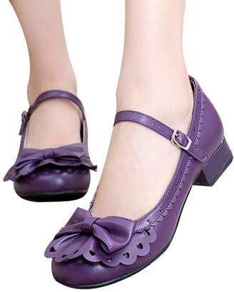Lorie & Knight Japanese Sweet Lolita Tea Party Shoes Flounce Trim Bowtie Mary Jane Low Heel Shoes