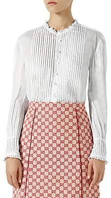 Gucci Women's Pintuck Cotton Batiste Shirt