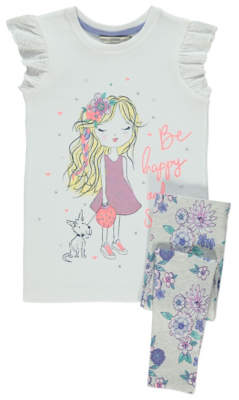 Bell George White Embellished Happy T-Shirt and Leggings Outfit