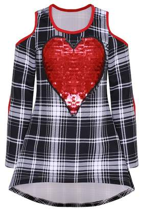 Mia Belle Girls Plaid Hi-Lo Cold-Shoulder Sequin Heart Patch Tunic (Toddler, Little Girls, & Big Girls)