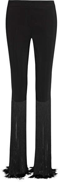 Emilio Pucci - Fringed Cady Straight-leg Pants - Black