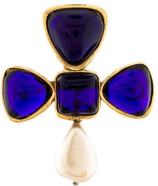 ChanelChanel Gripoix & Pearl Byzantine Cross Brooch