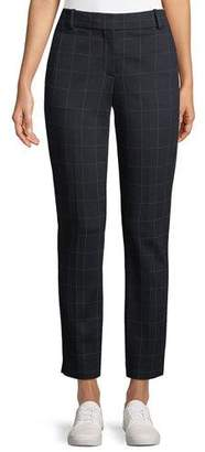 Theory Straight-Leg Windowpane-Check Knit Trousers