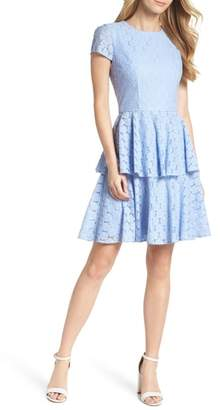 Gal Meets Glam Daisy Lace Tiered Fit & Flare Dress
