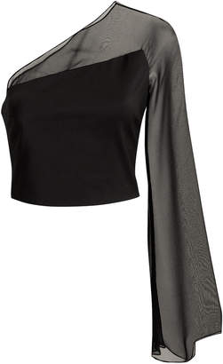 Cushnie et Ochs One Shoulder Chiffon Bell Sleeve Top