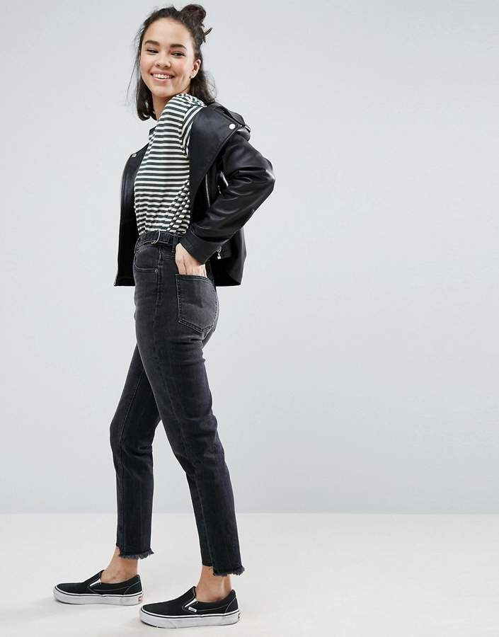 AsosASOS FARLEIGH High Waist Slim Mom Jeans in Black Breede Wash with Side Tabs and Stepped Hem