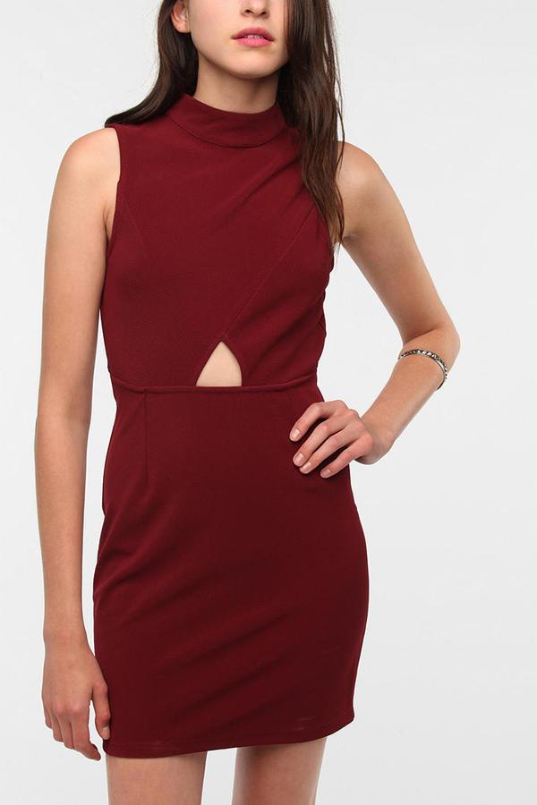 Sparkle & Fade Mandarin Collar Front Cutout Dress