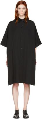 Yohji Yamamoto Black Mid-Length Shirt Dress $1,460 thestylecure.com