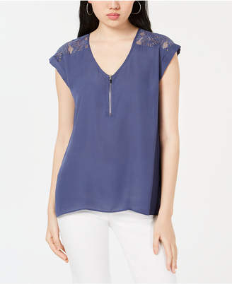 BCX Juniors' Lace-Trimmed Zip-Front Blouse