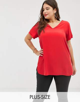 New Look Plus Curve tunic tee in red