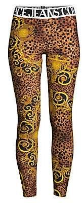Versace Women's Lady Fuseaux Animal-Print Leggings