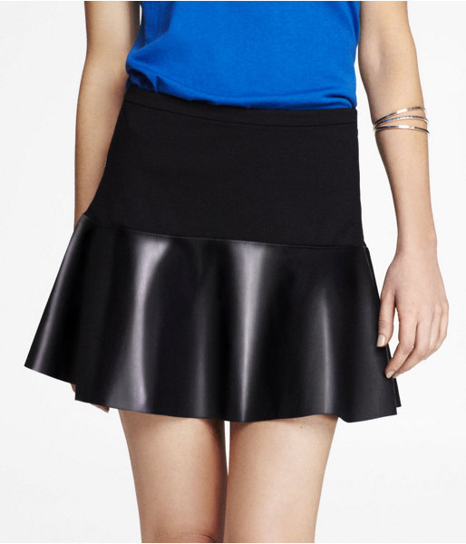 Express (Minus The) Leather Trimmed Fit And Flare Skirt